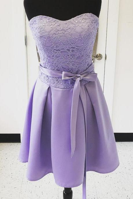 Lavender Bridesmaid Dress, Short Bridesmaid Dress, Cheap Bridesmaid Dress, Satin Bridesmaid Dress, Junior Bridesmaid Dress, Purple Bridesmaid Dress, Bridesmaid Dresses 2017, Lace Bridesmaid Dress