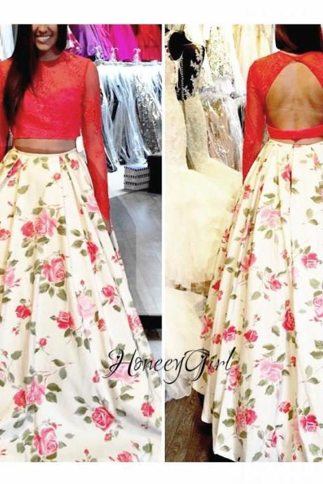 Printed Prom Dress, Red Prom Dress, A Line Prom Dress, 2 Piece Prom Dresses, Long Sleeve Prom Dress, Lace Prom Dress, Prom Dresses 2017, Vestido De Festa De Longo, Backless Prom Dress, Cheap Prom Dress