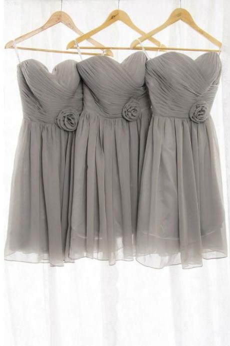 Gray Bridesmaid Dress, Short Bridesmaid Dress, Cute Bridesmaid Dress, Junior Bridesmaid Dress, Bridesmaid Dresses 2017, Cheap Bridesmaid Dress, Chiffon Bridesmaid Dress, Wedding Party Dresses