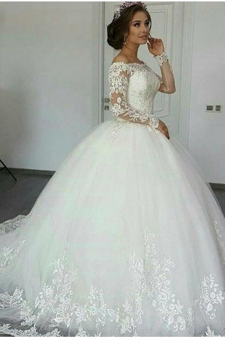 Long Sleeve Wedding Dress, Ivory Wedding Dress, Wedding Ball Gown, Lace Applique Wedding Dress, Elegant Wedding Dress, Unique Wedding Dress, Princess Wedding Dress, Wedding Dresses 2017, Vestido De Novia