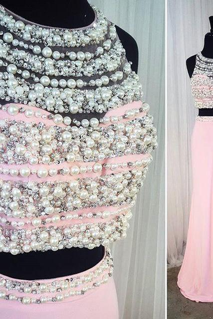 Mermaid Evening Dress, Peals Evening Dress, Pink Evening Dress, Sexy Evening Dress, 2 Piece Prom Dresses, Rhinestones Evening Dress, Formal Party Dresses, Halter Evening Dress, Luxury Evening Gown