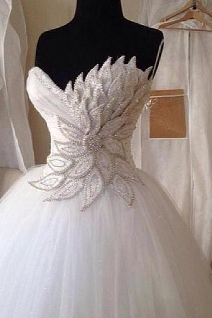 Wedding Ball Gown, Crystals Wedding Dress, Applique Wedding Dress, Ivory Wedding Dress, Soft Tulle Wedding Dress, Vestido De Novia, Cheap Bridal Ball Gown, Sweetheart Wedding Dress, Gorgeous Wedding Gown 2017