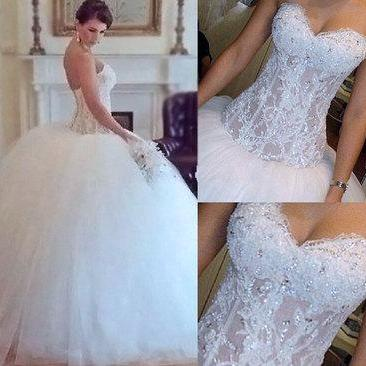 Luxury Wedding Dress, Princess Wedding Dress, Beaded Wedding Dress, Lace Wedding Dress, Tulle Wedding Dress, Cheap Wedding Dress, Wedding Ball Gown, Elegant Wedding Dress, Bridal Ball Gown