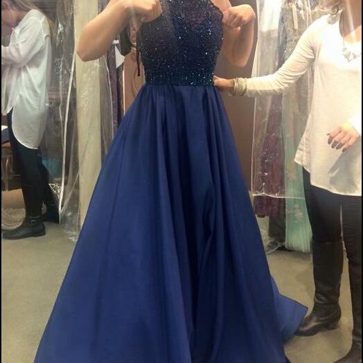 Beaded Prom Dress, Navy Blue Prom Dress, Halter Prom Dress, Backless Prom Dress, Prom Dresses 2017, Women Formal Dress, A Line Prom Dress, Cheap Prom Dress, Long Prom Dress, Sexy Formal Dresses