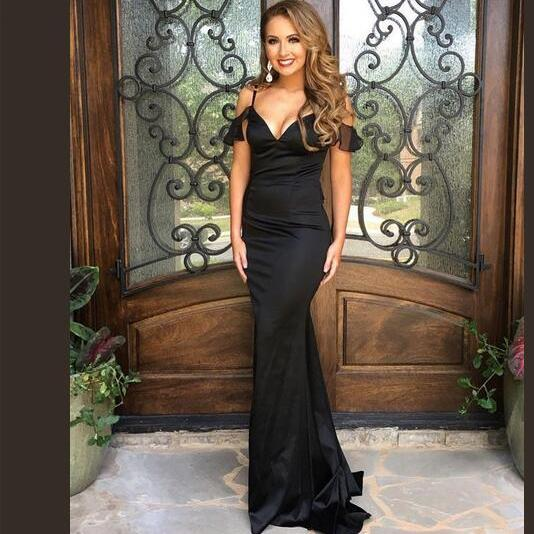 Black Evening Dress, Mermaid Evening Dress, Elegant Evening Dress, Formal Dresses for Women, Sexy Formal Dress, Off the Shoulder Evening Dress, Satin Evening Dress, Evening Dresses Long 2017