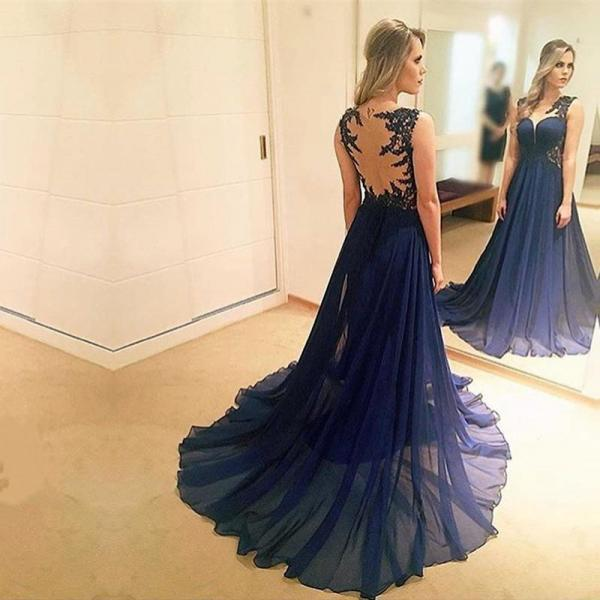 Navy Blue Prom Dress, Lace Applique Prom Dress, Beaded Prom Dress, Prom Dresses 2018, Chiffon Prom Dress, A Line Prom Dress, Elegant Prom Dress, Vestido De Festa, Backless Prom Dress, Modest Prom Dress