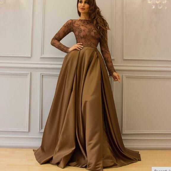 Long Sleeve Prom Dress, Brown Prom Dress, Saudi Arabic Prom Dress, Elegant Prom Dress, Floor Length Prom Dress, Cheap Prom Dress, Lace Prom Dress, A-Line Prom Dress, Prom Dresses 2018