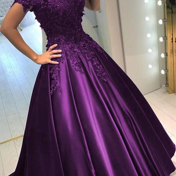 Purple Prom Dress, Lace Applique Prom Dress, V Neck Prom Dress, Beaded Prom Dress, Satin Prom Dress, Prom Dresses 2019, Elegant Prom Dress, Floor Length Prom Dress, Short Sleeve Prom Dress, A Line Prom Dress