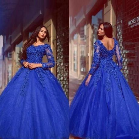 royal blue prom dress, ball gown prom dress, elegant prom dress, lace applique prom dress, beaded prom dress, long sleeve prom dress, modest prom dress, prom gowns, prom dresses 2020, vestido de festa