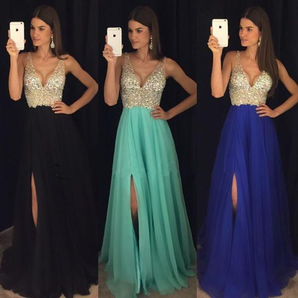 v neck prom dress, beaded prom dress, tulle prom dress, prom gown, prom dresses long, senior formal dress, evening gown, robe de soiree, cheap prom dress, prom dresses 2020, elegant prom dress