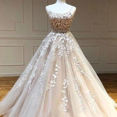 champagne prom dress, boat neck prom dress, vintage prom dress, lace applique prom dress, prom gown, vestido de festa, vestido de longo, cheap prom dress, evening gown, simple prom dress, elegant prom dress