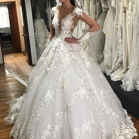 white wedding dress, lace applique wedding dress, wedding gown, vestido de novia, robe de mariee, elegant wedding dress, long sleeve wedding dress, cheap bridal dress, handmade flowers wedding dress, wedding ball gowns, 2020 wedding dress