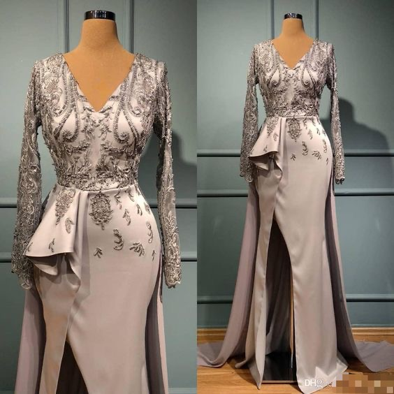 deep v neck prom dress, silver prom dress, elegant prom dresses, beaded prom dress, lace applique prom dress, 2021 prom dresses, vestido de longo, 2020 prom dresses, detachable train prom dresses, prom dresses 2020, vestido de festa de longo