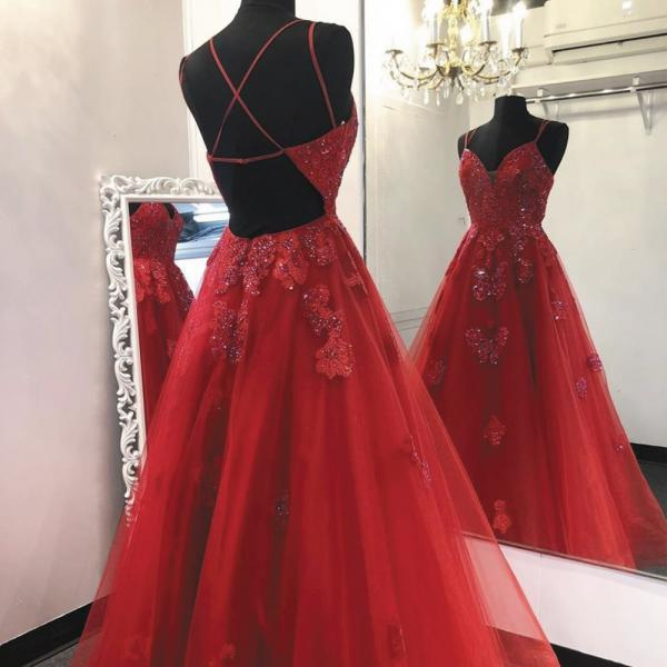 red lace prom dress, lace applique prom dresses, spagehtti strap prom dresses, beaded prom dress, elegant prom dresses, prom gown, prom dresses 2020, vestido de festa, pageant dresses for women, 2021 prom dresses