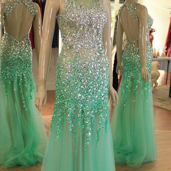 crystal evening dress, mint green evening dress, sparkly evening dresses, luxury evening dresses, beaded evening dresses, evening gown, vestido de longo, 2021 evening dresses, modest evening dresses, sexy formal dresses