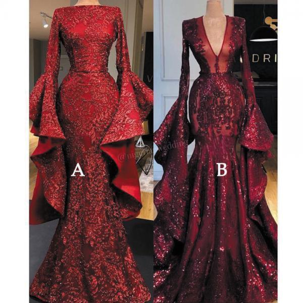 burgundy evening dresses, sparkly evening dress, flare sleeve evening dresses, evening dresses long, 2021 evening dress, modest evening dresses, robe de soiree, vintage evening dress, evening dresses 2020, elegant evening dresses