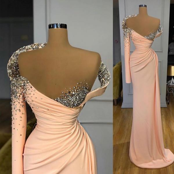 peach evening dresses, beaded evening dress, sexy formal dresses, long sleeve evening dress, modest evening dresses, 2021 evening dress, evening gowns, vestidos de fiesta, 2020 evening dresses, women fashion