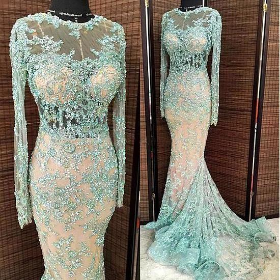 blue evening dress, mermaid evening dresses, sexy formal dresses, long sleeve evening dresses, modest evening dresses, vestido de longo, robe de soiree, evening gown, 2021 evening dresses, lace applique evening dresses, beaded evening dresses