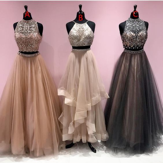 2 piece prom dresses, champagne prom dresses, gray prom dress, vestido de fiesta, mismatched prom dresses, elegant prom dresses, 2021 prom dresses, luxury prom dress, 2020 prom dresses