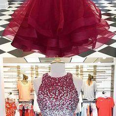 burgundy homecoming dress, homecoming dresses short, beaded prom dress, o neck prom dress, prom dresses 2021, vestido de graduacion, cheap graduation dresses, sparkly prom dresses