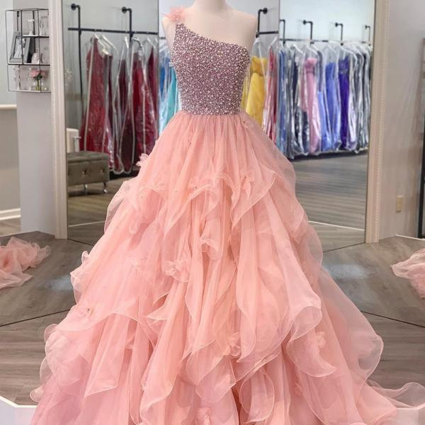 pink prom dresses, one shoulder prom dress, beaded prom dresses, vestido de fiesta, crystal prom dress, elegant prom dresses, senior prom dresses, vestido de fiesta