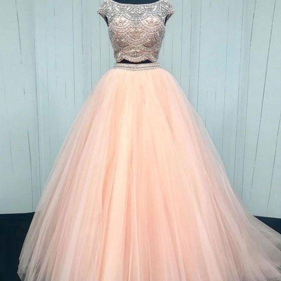 2 piece prom dresses, cap sleeve prom dress, beaded prom dresses, prom dresses 2021, elegant prom dresses, tulle prom dress, prom dresses long, senior prom dress, vestido de fiesta, cheap prom dresses, prom dresses for women