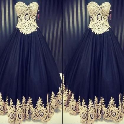 black and gold prom dress, lace applique prom dresses, vintage prom dress, prom gown, 2021 prom dresses, sweetheart neck prom dress, prom ball gown, vestido de fiesta