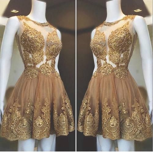 gold prom dress, lace applique prom dresses, prom dresses short, vintage prom dress, homecoming dresses short, vestido de graduacion, 2021 prom dresses, cocktail dress