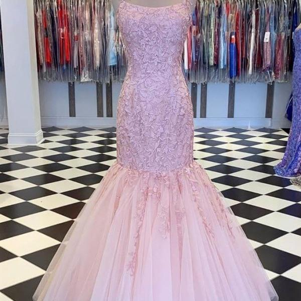 pink evening dress, lace applique evening dress, modest evening dress, elegant evening dresses, formal evening gown, robe de soiree, 2021 evening dress, evening dresses long, vestido de fiesta