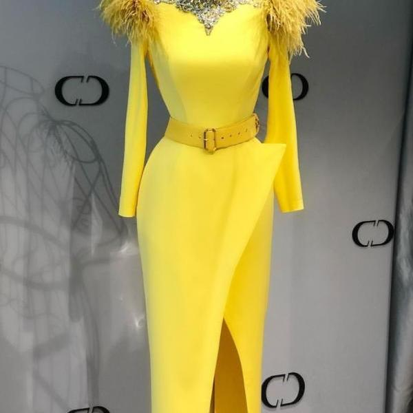 feather evening dresses, high neck evening dress, vestido de fiesta, yellow evening dresses, beaded evening dresses, elegant evening dresses, formal party dresses, 2021 evening dresses, vestido de longo
