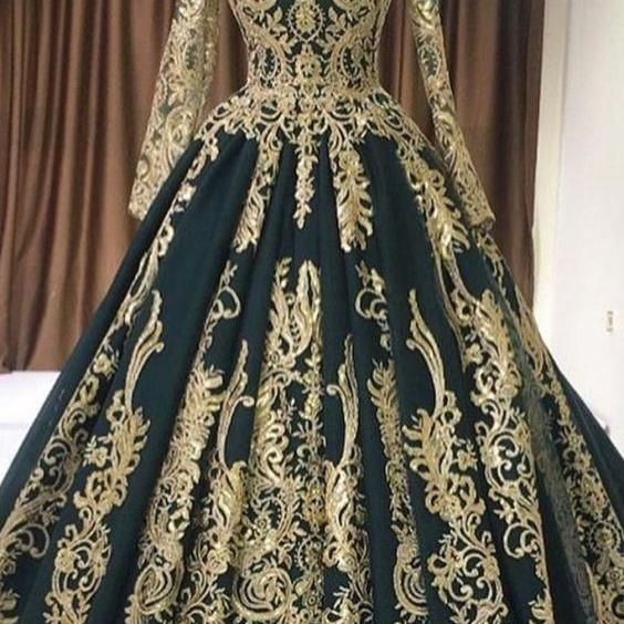 vintage prom dresses, muslim prom dresses, green prom dress, lace applique prom dresses, prom dresses 2021, ball gown prom dress, vestido de longo, robe de soiree, elegant prom dresses