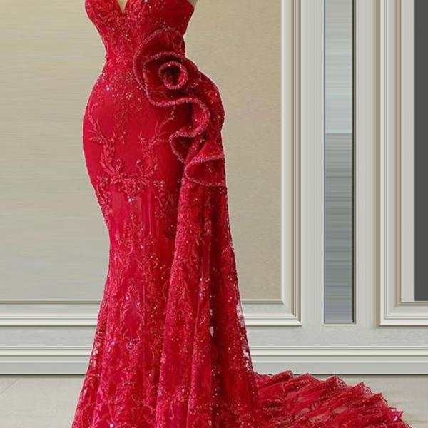red evening dress, elegant evening dresses, formal wear, sparkly evening dress, lace applique evening dresses, evening dresses 2021, mermaid evening dresses, vestido de festa de seria