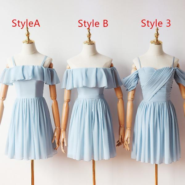 mismatched bridesmaid dresses, blue bridesmaid dress, chiffon bridesmaid dresses, bridesmaid dresses short, a line bridesmaid dresses, 2021 bridesmaid dresses, wedding party dresses, junior bridesmaid dresses
