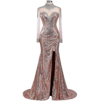 rose gold evening dress, pink evening dresses, 2021 evening dress, crystal evening dresses, beaded evening dress, vestido de fiesta, robe de soiree, elegant evening dresses, elegant evening dresses, vestido de longo, sparkly evening dresses