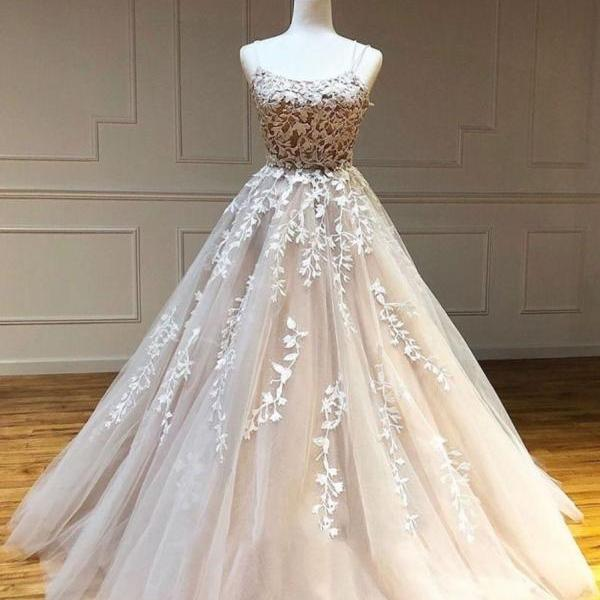 champagne prom dresses, lace applique prom dress, spaghetti strap prom dresses, robe de soiree, 2021 prom dresses, elegant prom dress, vestido de fiesta, pageant dresses for women