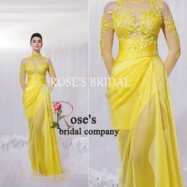 Long Sleeve Lace Elegant Yellow Long Evening Dress, High Neck Vintage Chiffon Formal Party Dresses, Cheap Prom Dresses 2015