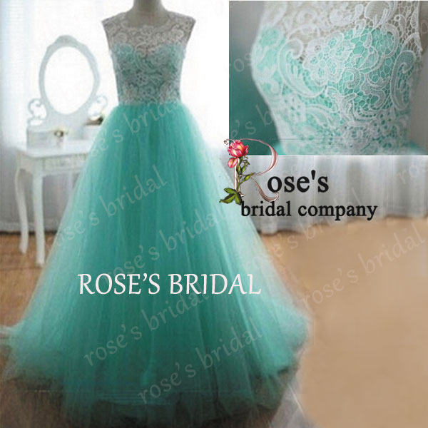 Real Photo A Line Elegant Prom Dresses, Cheap Prom Dresses, Mint Green Prom Dress, Lace Prom Gowns, Evening Gowns, Prom Dresses 2015