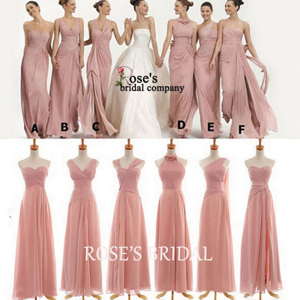 Mismatched Pink Long Bridesmaid Dresses Chiffon Wedding Party Dress Dusty