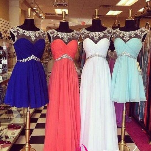 Long and Short Prom Dress, Sheer Crew Bridesmaid Dress, Chiffon Prom Dresses, Pleats Evening Dresses, Crystal Evening Gowns