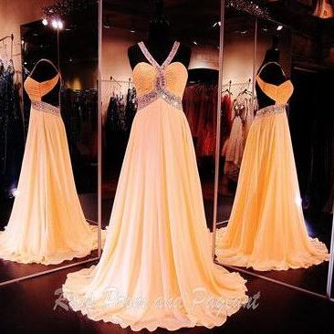 Long Prom Dresses, Coral Prom Gowns, Chiffon Evening Dresses, Crystal Evening Gowns, Court Train Party Dresses, Crystal Formal Dresses