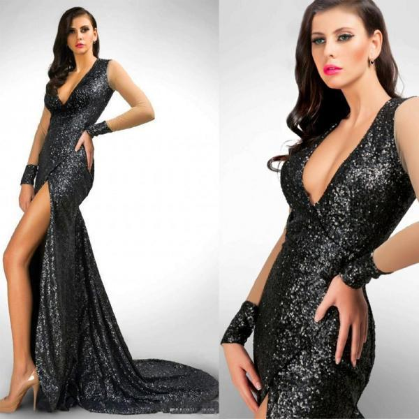 Sexy Black Long Mermaid Evening Dress, Sequined Evening Dresses With Side Slit, Cheap Evening Gowns, V Neck Formal Dress, Sparkly Prom Dresses, Evening Dress 2015