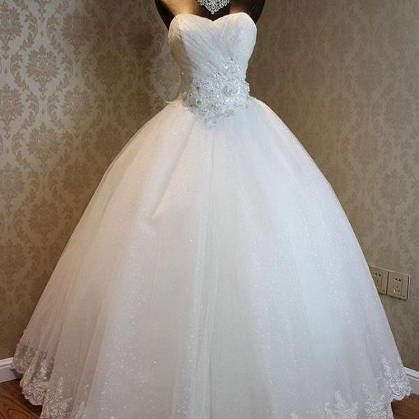 Princess Wedding Dress, Sweetheart Neck Wedding Gowns, Ivory Wedding Dresses, Cheap Wedding Dress, Bridal Dresses, Lace Bridal Gowns, Tulle Wedding Dress