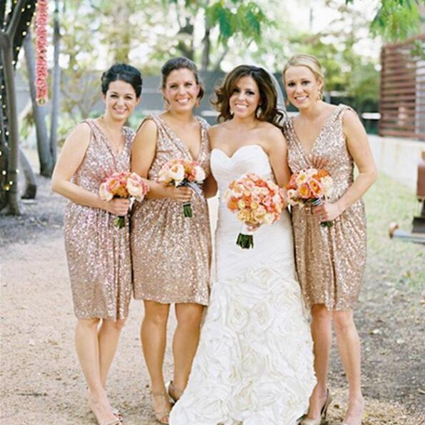 Gold Sequin Bridesmaid Dress, Short Bridesmaid Dresses, Sparkly Bridesmaid Dress, Cheap Bridesmaid Dress, Junior Bridesmaid Dresses, Wedding Party Dress