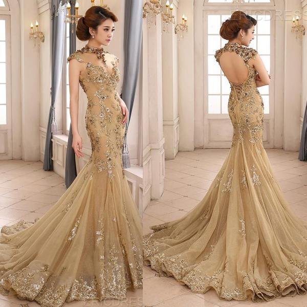 Champagne Evening Dress, Long Evening Dress, Cap Sleeve Formal Dress, Lace Appliques Evening Dress, Mermaid Evening Dresses, Backless Evening Dress, Sexy Formal Dress