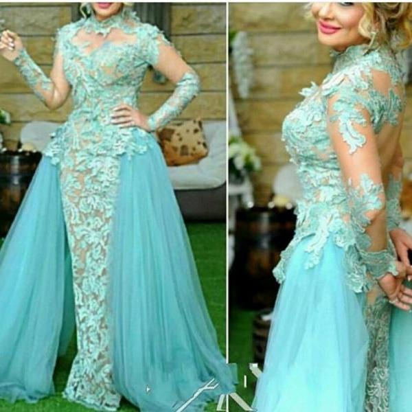 Lace Applique Evening Dress, Detachable Evening Dress, Long Evening Dress, Cheap Evening Dress, Blue Evening Dress, Elegant Evening Dress, Tulle Formal Dress, Formal Dress 2015