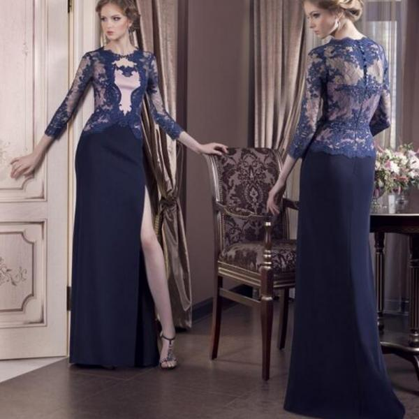 Modest Evening Dress, Mother Dress Of The Bride, Navy Blue Evening Dress, Long Evening Dress, Lace Evening Dress, Cheap Formal Dress, Elegant Formal Dress, Formal Dresses 2016, Long Sleeve Evening Dress