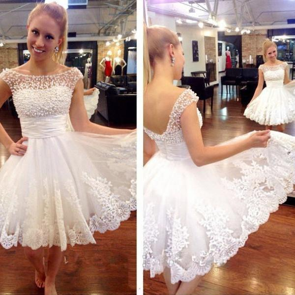 White Homecoming Dress, Peals Homecoming Dress, Short Homecoming Dress, Sexy Homecoming Dress, Lace Homecoming Dress, Homecoming Dress 2015, Cheap Homecoming Dress, Cocktail Dresses 2016, Party Dresses Short