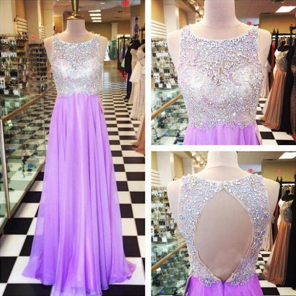 Purple Prom Dress, Beaded Long Prom Dress, Chiffon Prom Dress, Sparkly Prom Dress, Rhinestones Prom Dress, Elegant Prom Dress, Evening Dress Prom, 2016 Prom Dresses