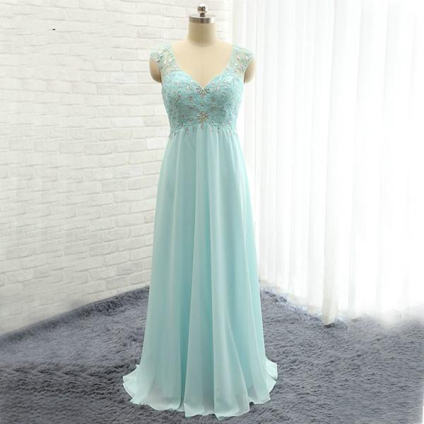 Light Blue Prom Dress, Long Prom Dress, Beads Prom Dress, Chiffon Prom Dress, Elegant Prom Dress, Backless Prom Dresses 2016, Cheap Prom Dress, Lace Prom Dress, Formal Dresses 2016