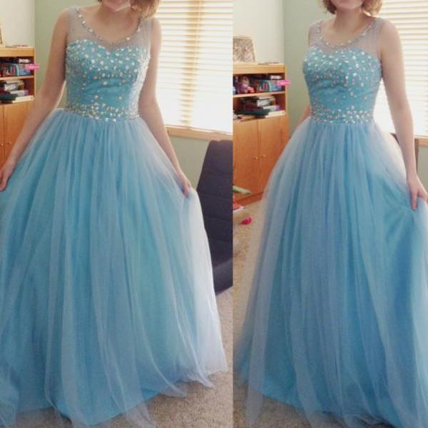A Line Prom Dress, Blue Tulle Rhinestones Prom Dress, Elegant Prom Dress, Floor Length Prom Dress, Prom Gowns 2016, Cheap Formal Dress, Prom Gowns 2016